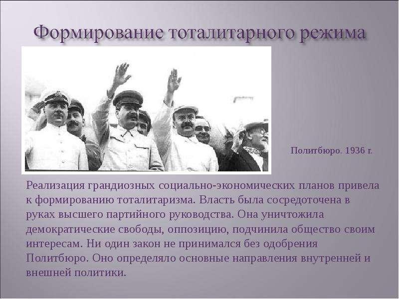 становление сталинского режима в 20-30-е годы кратко списку