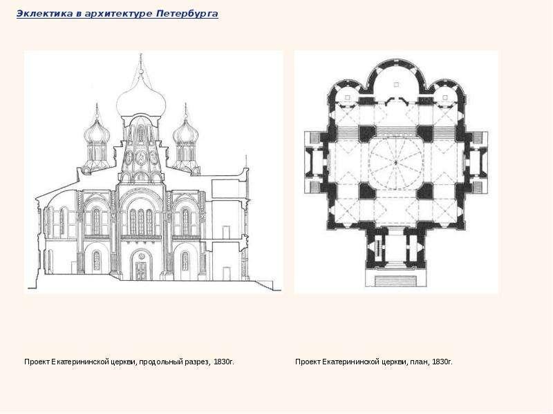 Эклектика в архитектуре Петербурга Проект Екатерининской церкви, продольный разрез, 1830г. Проект Ек