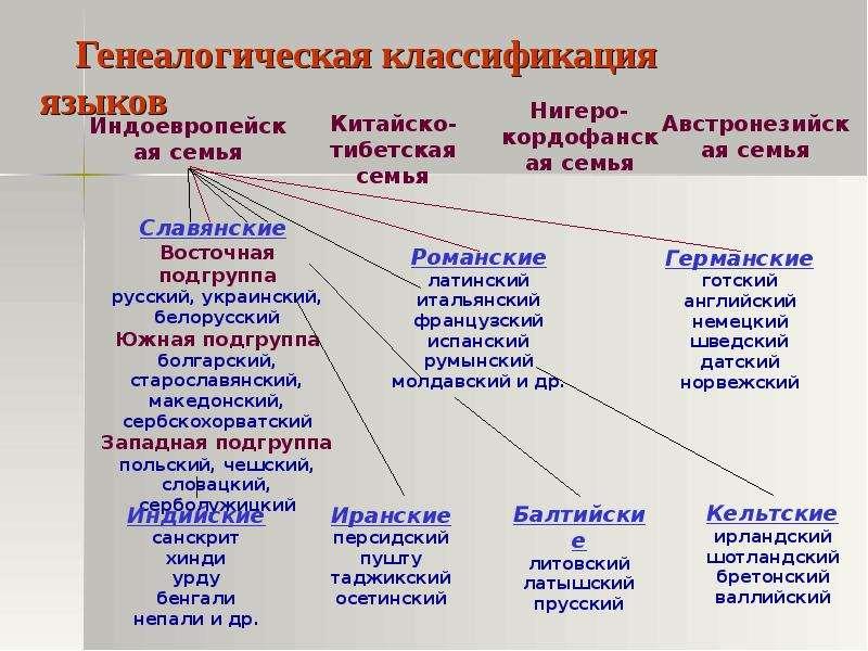 Генеалогическая классификация языков
