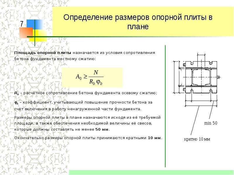 определение толщины фундаментной плиты