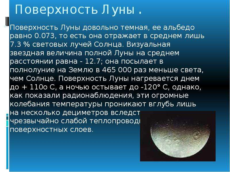 Поверхность Луны. Поверхность Луны довольно темная, ее альбедо равно 0. 073, то есть она отражает в