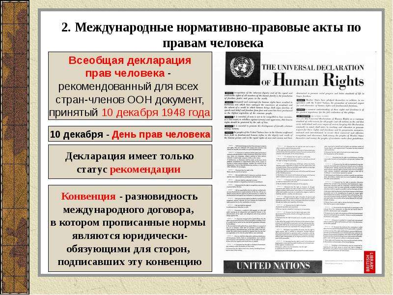 2. Международные нормативно-правовые акты по правам человека