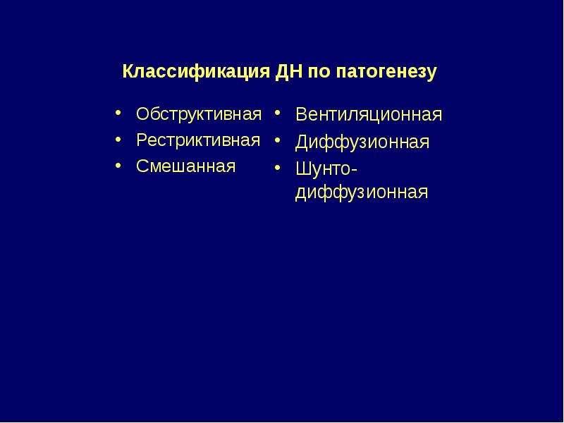 Классификация ДН по патогенезу Обструктивная Рестриктивная Смешанная