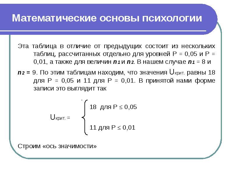 Математические основы психологии Эта таблица в отличие от предыдущих состоит из нескольких таблиц, р