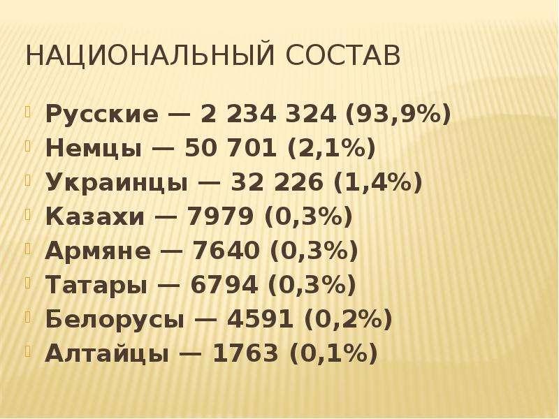 Национальный состав Русские — 2 234 324 (93,9%) Немцы — 50 701 (2,1%) Украинцы — 32 226 (1,4%) Казах