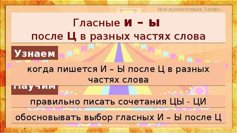 Гласные и – ы после Ц в разных частях слова Урок русского языка. 5 класс