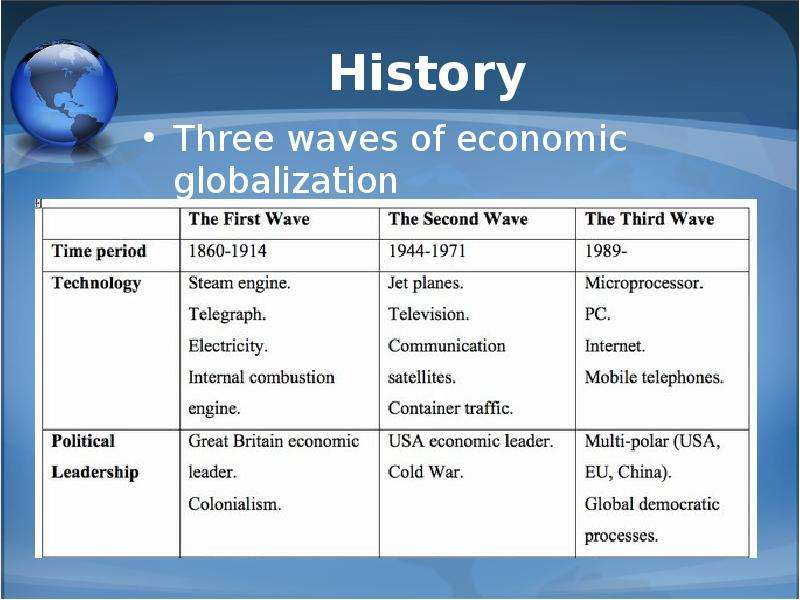 economic globlization Economic globalization refers to the process whereby all national economies have, to a greater or lesser extent, been absorbed into an interlocking global economy.
