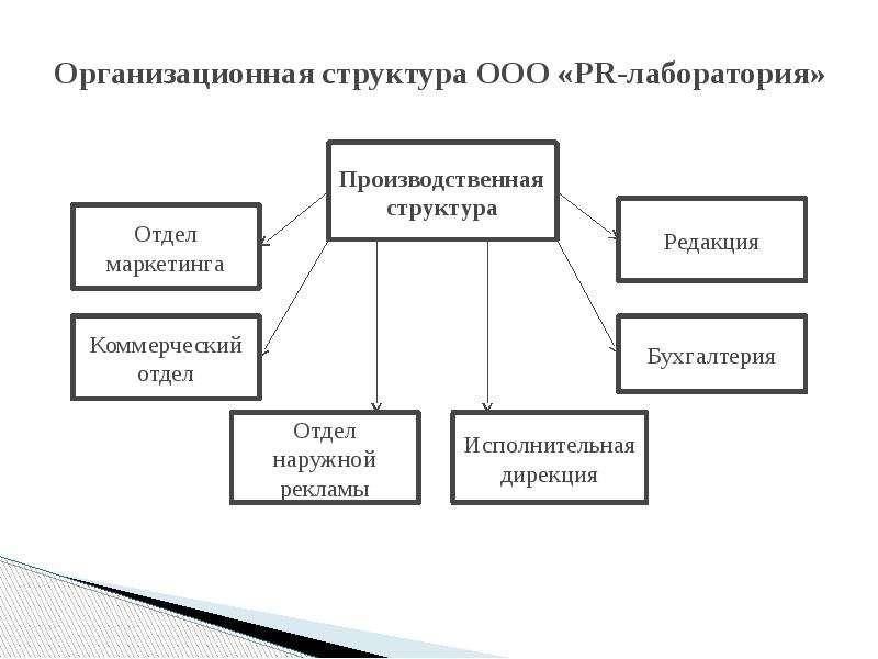 Организационная структура ООО «PR-лаборатория»