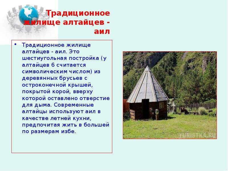 Традиционное жилище алтайцев - аил Традиционное жилище алтайцев - аил. Это шестиугольная постройка (
