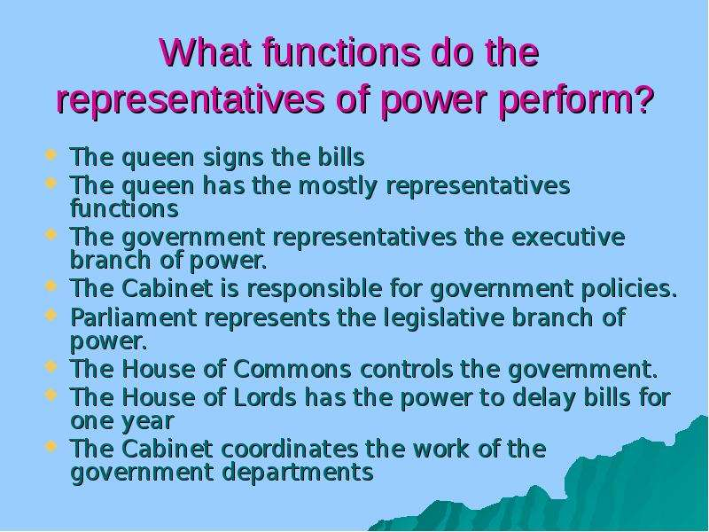functions of the government Government has six functions: 1 foreign relations - diplomacy and defense 2 develop business strength - incubate small business, special research and development, such as space research, job training, unemployment insurance and more 3 protect and regulate the sustainable use of natural resources.