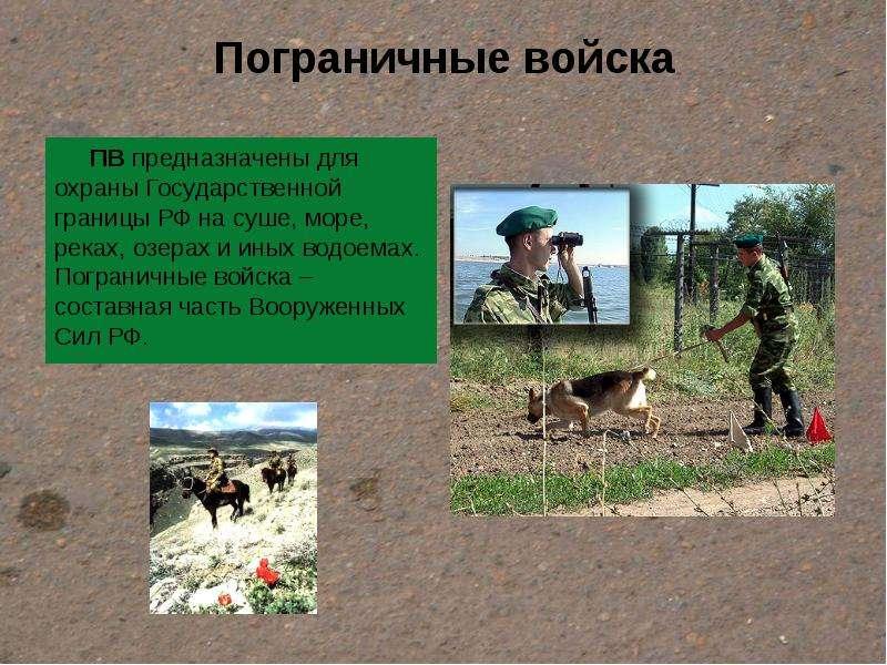Пограничные войска ПВ предназначены для охраны Государственной границы РФ на суше, море, реках, озер