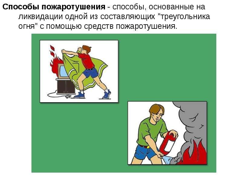 """Способы пожаротушения - способы, основанные на ликвидации одной из составляющих """"треугольника о"""