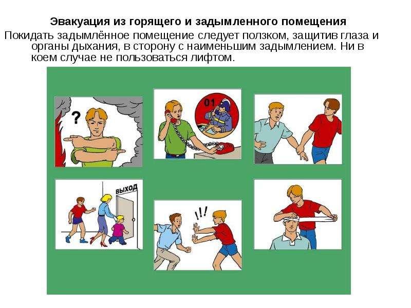 Эвакуация из горящего и задымленного помещения Покидать задымлённое помещение следует ползком, защит