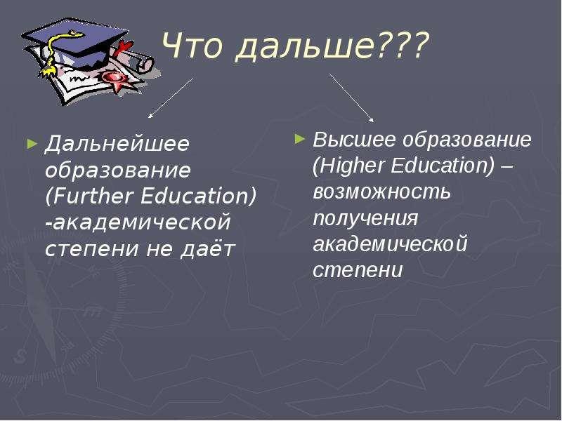 Что дальше??? Дальнейшее образование (Further Education) -академической степени не даёт