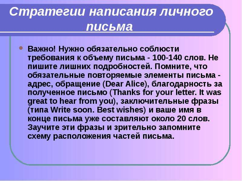 Стратегии написания личного письма Важно! Нужно обязательно соблюсти требования к объему письма - 10