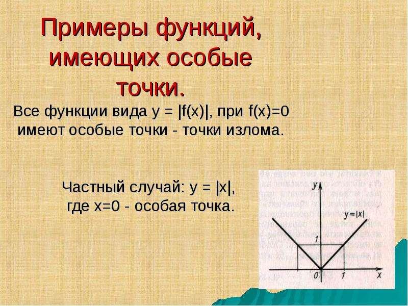 Примеры функций, имеющих особые точки. Все функции вида у = |f(x)|, при f(x)=0 имеют особые точки -