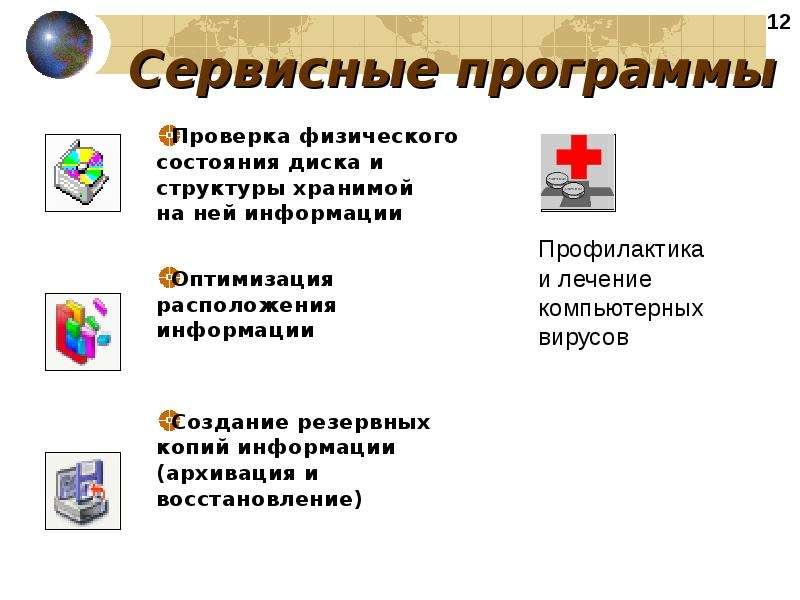 Сервисные программы Проверка физического состояния диска и структуры хранимой на ней информации Опти