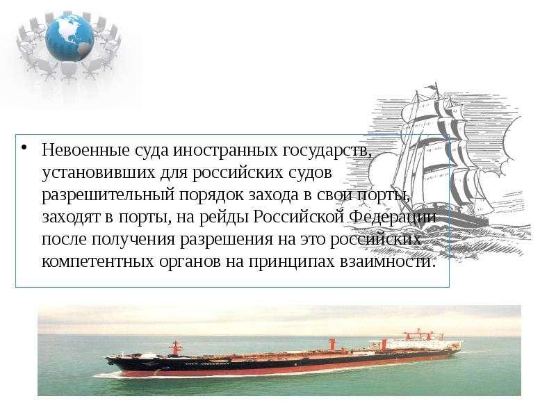 Невоенные суда иностранных государств, установивших для российских судов разрешительный порядок захо