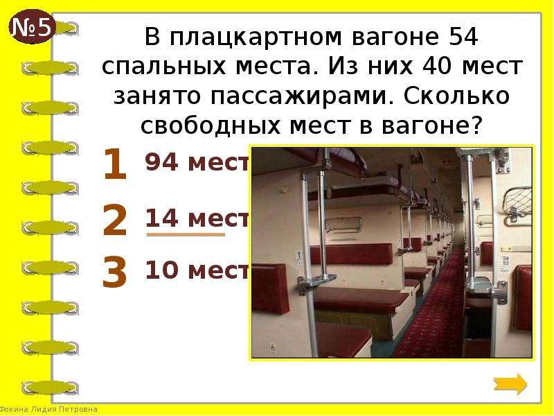 Фото расположения мест в поезде плацкарт