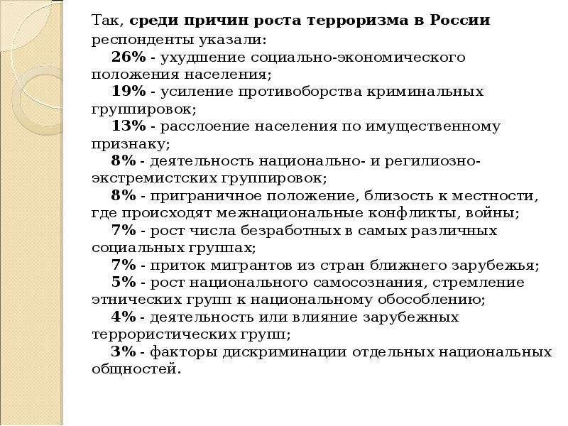 Так, среди причин роста терроризма в России респонденты указали: 26% - ухудшение социально-экономиче