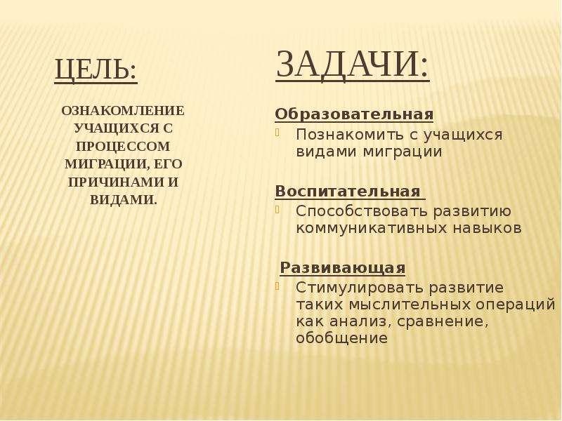 ЦЕЛЬ: ОЗНАКОМЛЕНИЕ УЧАЩИХСЯ С ПРОЦЕССОМ МИГРАЦИИ, ЕГО ПРИЧИНАМИ И ВИДАМИ.