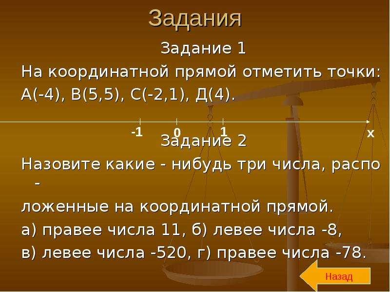 Задания Задание 1 На координатной прямой отметить точки: А(-4), В(5,5), С(-2,1), Д(4). Задание 2 Наз