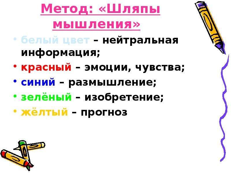 Метод: «Шляпы мышления» белый цвет – нейтральная информация; красный – эмоции, чувства; синий – разм