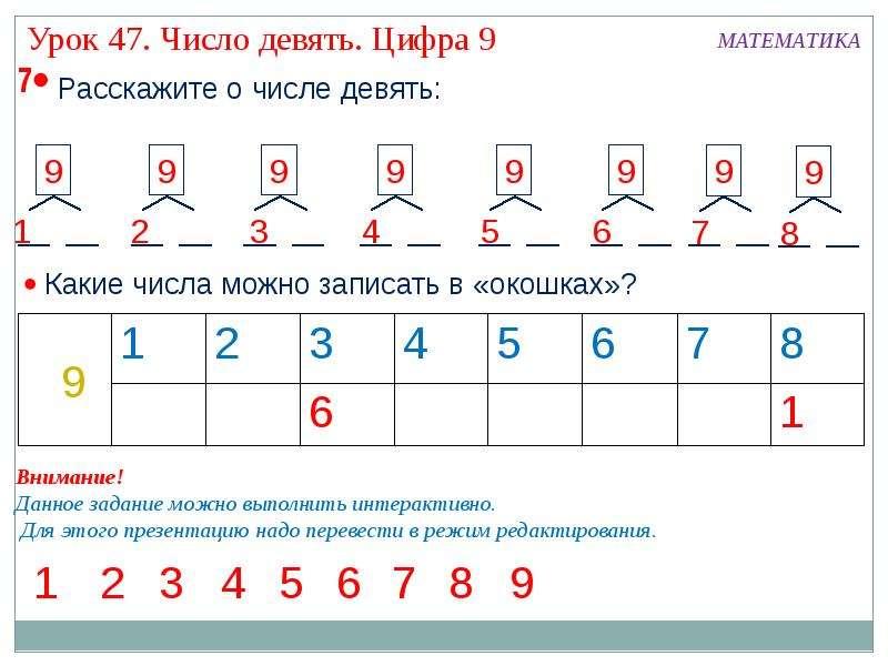 и цифрой презентация с 9 знакомство числом