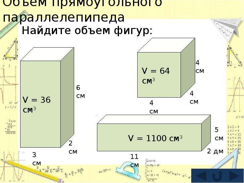 Объем прямоугольного параллелепипеда Найдите объем фигур: