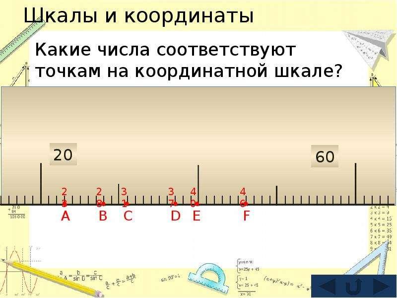 Шкалы и координаты Какие числа соответствуют точкам на координатной шкале?