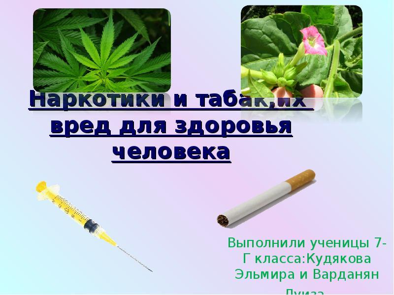 Наркотики и табак,их вред для здоровья человека Выполнили ученицы 7-Г класса:Кудякова Эльмира и Вард