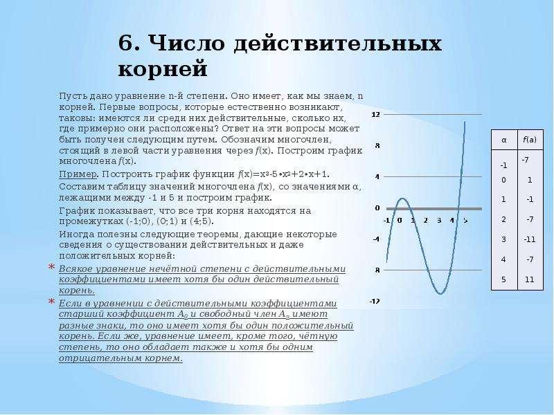 6. Число действительных корней Пусть дано уравнение n-й степени. Оно имеет, как мы знаем, n корней.