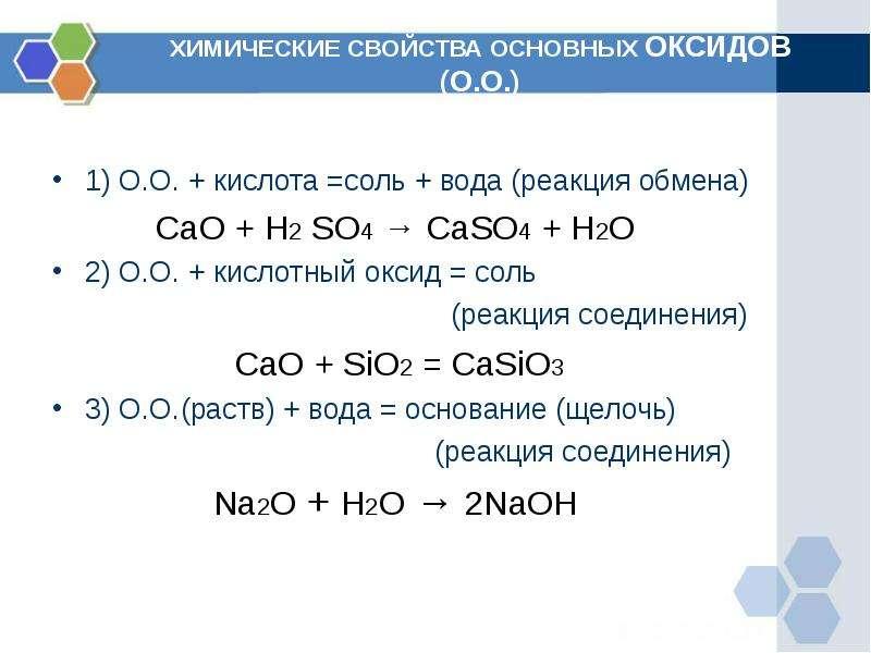 ХИМИЧЕСКИЕ СВОЙСТВА ОСНОВНЫХ ОКСИДОВ (О. О. ) 1) О. О. + кислота =соль + вода (реакция обмена) CaO +