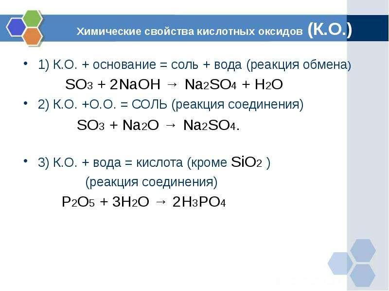 Химические свойства кислотных оксидов (К. О. ) 1) К. О. + основание = соль + вода (реакция обмена) S