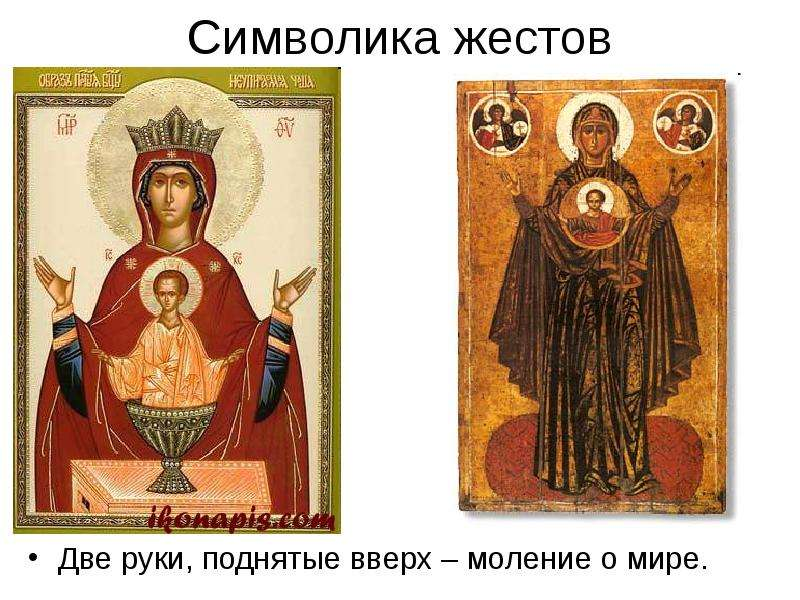 Символика жестов Две руки, поднятые вверх – моление о мире.