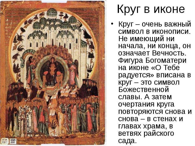 Круг в иконе Круг – очень важный символ в иконописи. Не имеющий ни начала, ни конца, он означает Веч