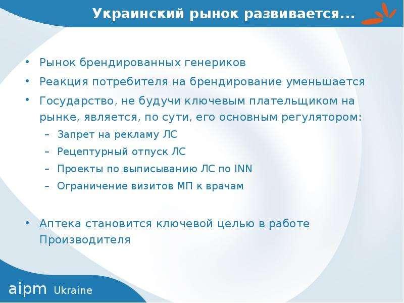 Украинский рынок развивается. . . Рынок брендированных генериков Реакция потребителя на брендировани