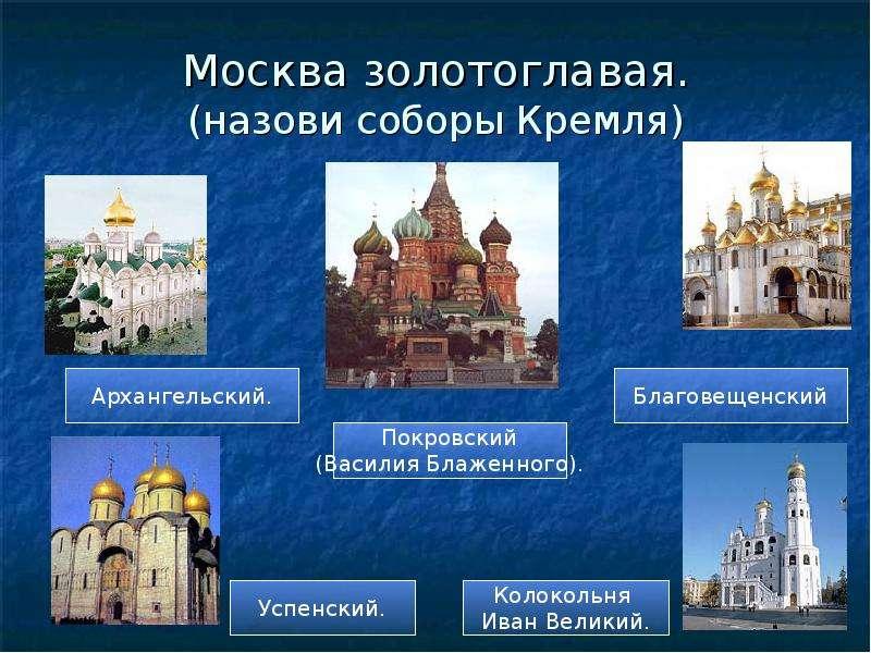 Москва золотоглавая. (назови соборы Кремля)