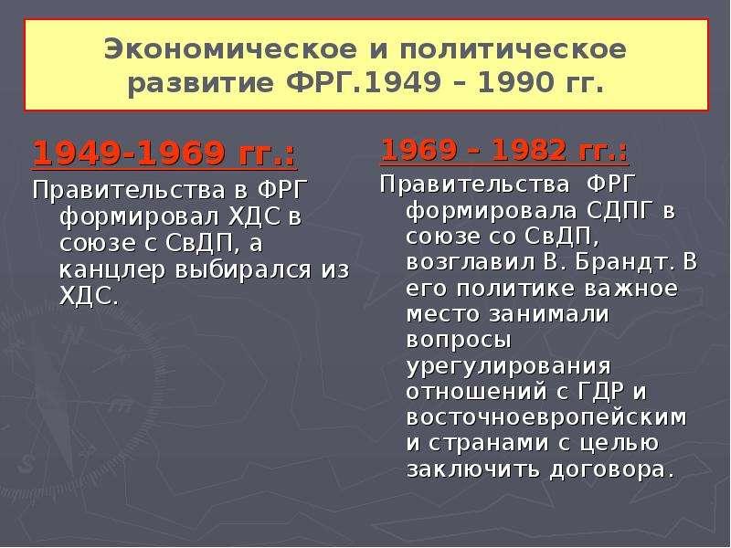 Экономическое и политическое развитие ФРГ. 1949 – 1990 гг. 1949-1969 гг. : Правительства в ФРГ форми
