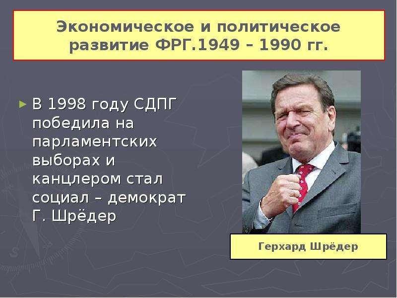 Экономическое и политическое развитие ФРГ. 1949 – 1990 гг. В 1998 году СДПГ победила на парламентски