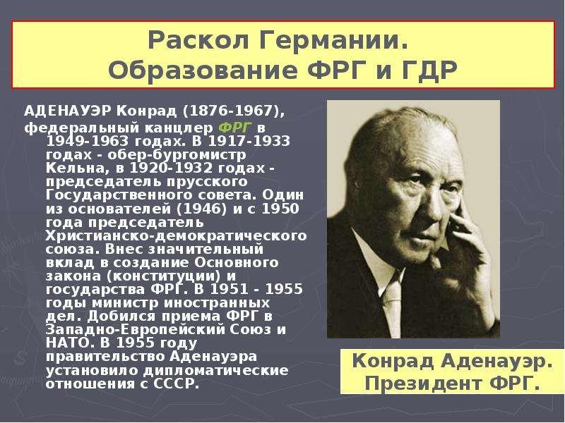 АДЕНАУЭР Конрад (1876-1967), АДЕНАУЭР Конрад (1876-1967), федеральный канцлер ФРГ в 1949-1963 годах.