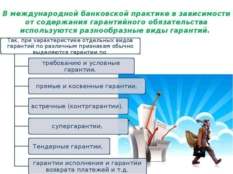 В международной банковской практике в зависимости от содержания гарантийного обязательства использую