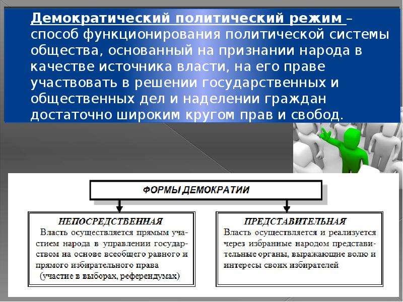 Демократический политический режим – способ функционирования политической системы общества, основанн