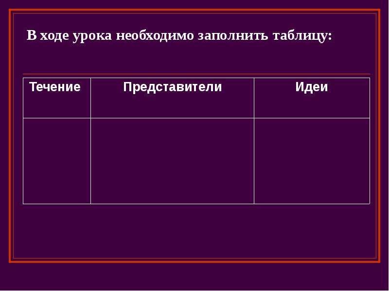 В ходе урока необходимо заполнить таблицу: