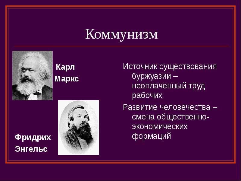 Коммунизм Карл Маркс Фридрих Энгельс