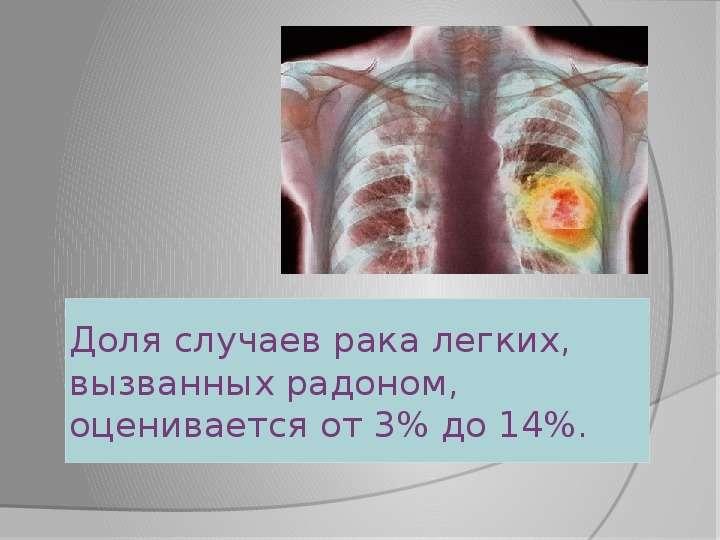 Доля случаев рака легких, вызванных радоном, оценивается от 3% до 14%.
