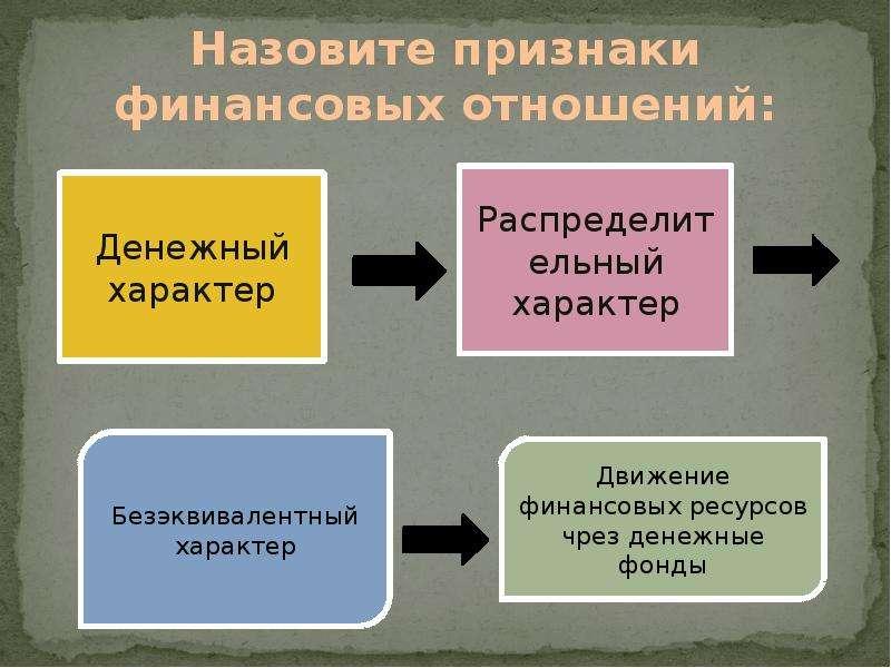 Универсальные признаком финансовых отношений