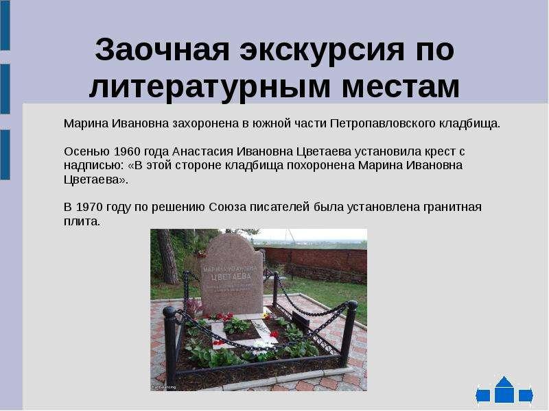 Заочная экскурсия по литературным местам Марина Ивановна захоронена в южной части Петропавловского к