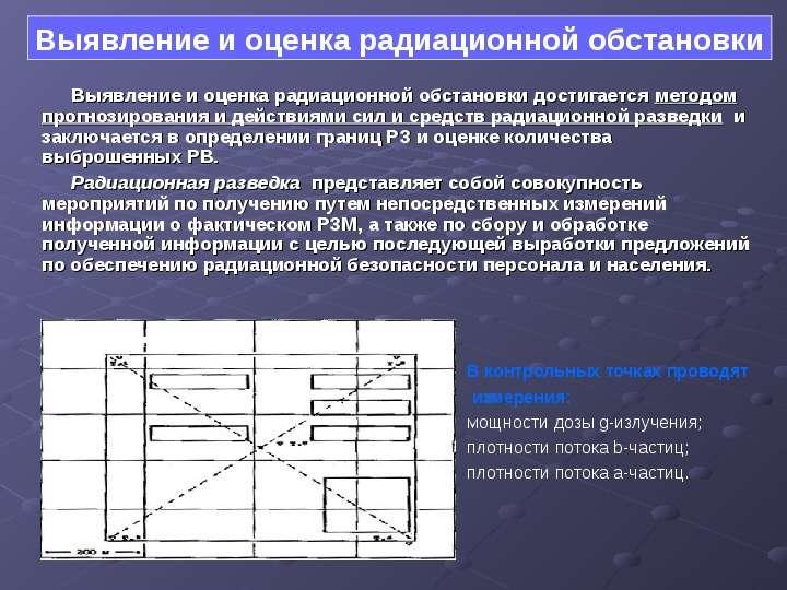Выявление и оценка радиационной обстановки достигается методом прогнозирования и действиями сил и ср