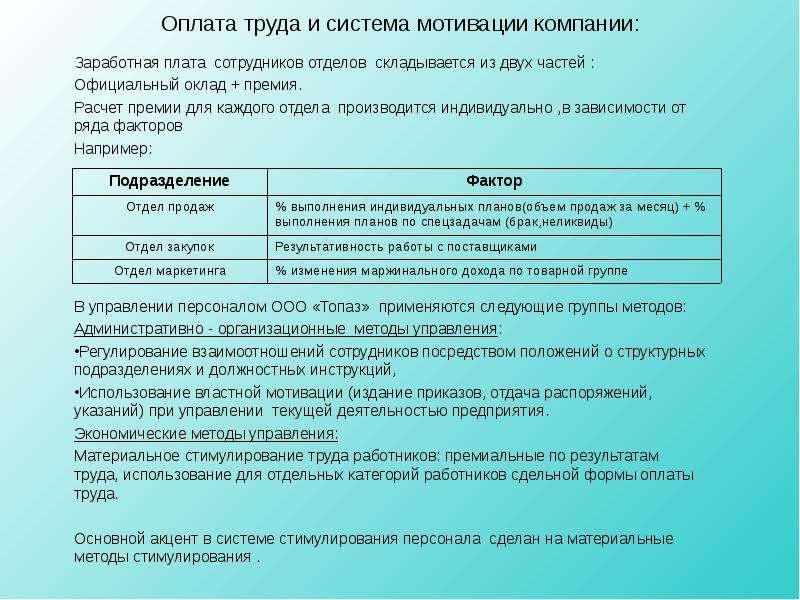 Оплата труда и система мотивации компании: Заработная плата сотрудников отделов складывается из двух